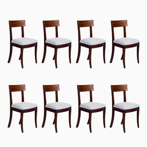 Chaises de Salon Scandinaves Antique en Acajou, Set de 8