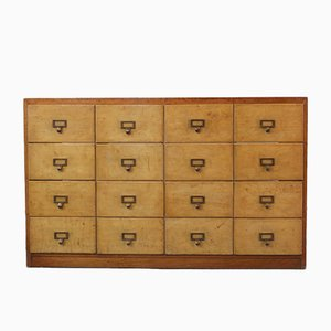 Industrial Wooden Bank of Drawers, 1930s