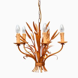 Italian Sheaf of Wheat Tole Chandelier, 1970s