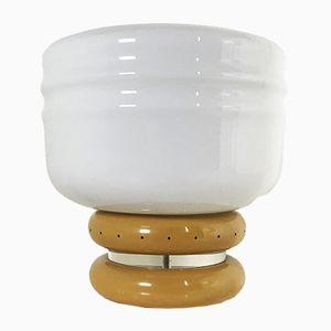 Lampada da tavolo grande in metallo e vetro opalino, anni '70