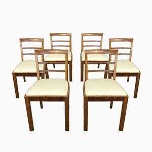 Art Deco Nussholz Esszimmerstühle, 6er Set