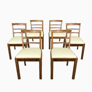Art Deco Walnut Dining Chairs, Set of 6