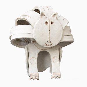 Escultura de león de cerámica de Bruno Gambone, años 70