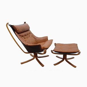 Falcon Wingback Chair and Ottoman by Sigurd Ressell for Vatne Møbler, 1970s