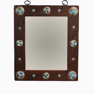 Vintage Holz Spiegel mit Emaille und Kupfer von Capo Esmaltes