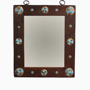 Vintage Wooden Mirror with Enamel and Copper Decoration by Capo Esmaltes