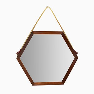 Hexagonal Teak Mirror, 1960s