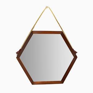 Specchio esagonale in teak, anni '60
