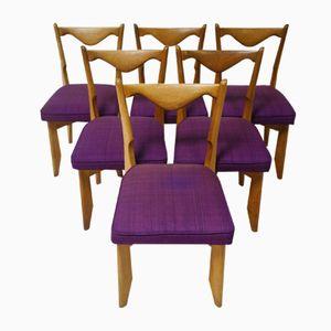 Französische Vintage Eichenholz Esszimmerstühle von Guillerme et Chambron für Votre Maison, 6er Set