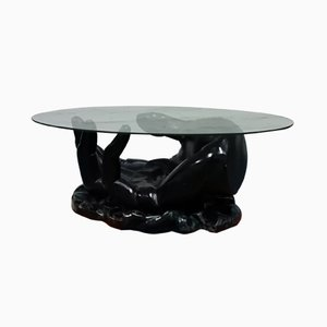 Fiberglass Coffee Table with Hand-Shaped Base, 1960s