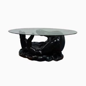 Mesa de centro de fibra de vidrio con base en forma de mano, años 60