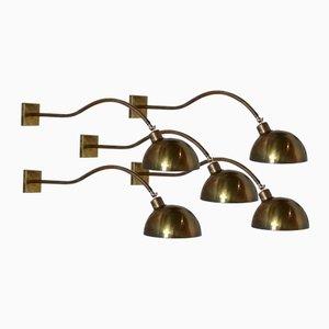 Lampade da parete vintage in ottone, set di 5