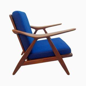 Vintage Danish Modern Lounge Chair with Curved Armrests