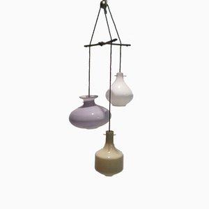 Lámpara de araña vintage de vidrio coloreado