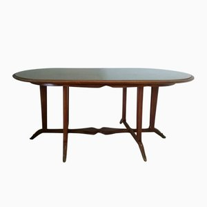 Vintage Glass and Wood Dining Table