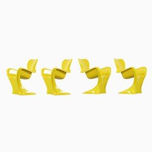 Sillón amarillo de fibra de vidrio de Luigi Colani, 1968. Juego de 4