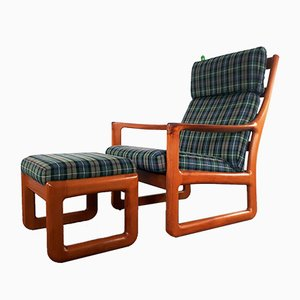Large Danish Solid Teak Lounge Chair with Ottoman from Silkeborg, 1960s