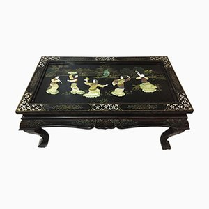 Antique Chinese Lacquered Coffee Table with Inlaid Precious Stones