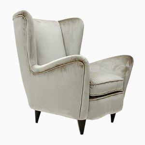 Poltrona di velluto grigio, anni '50