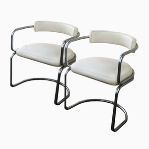 Mid-Century Vinyl and Chrome Side Chairs, 1970s, Set of 2