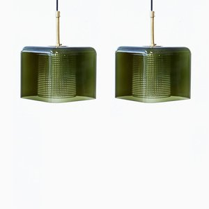Brass & Glass Pendant Lamps by Carl Fagerlund for Orrefors, 1960s, Set of 2