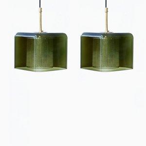 Lámparas colgantes de vidrio y latón de Carl Fagerlund para Orrefors, años 60. Juego de 2