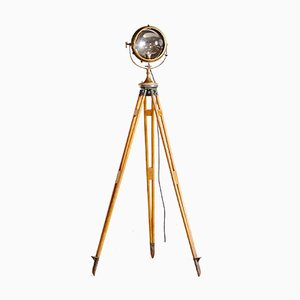 Brass Searchlight on Wooden Tripod from Carlisle & Finch & Co., 1930s