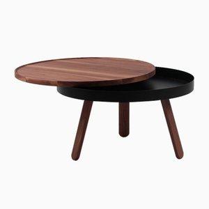 Tavolino da caffè medio Batea nero e in legno di noce con scomparto di Daniel García Sánchez per WOODENDOT