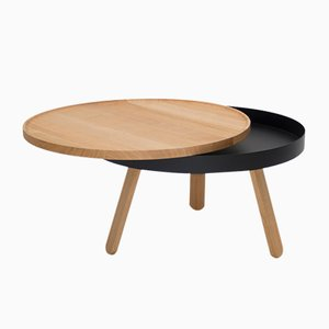 Medium Oak-Black Batea Coffee Table with Storage by Daniel García Sánchez for WOODENDOT