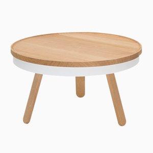 Tavolino da caffè medio Batea bianco e in legno di quercia con scomparto di Daniel García Sánchez per WOODENDOT