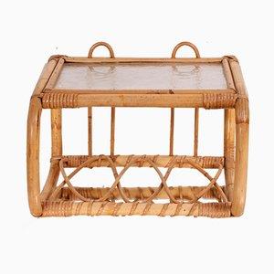 Mueble de pared vintage de bambú, años 50