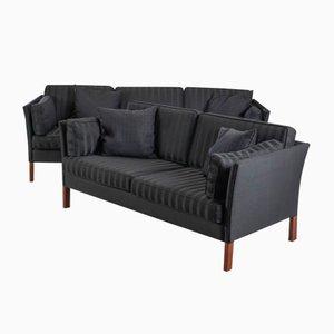 Sofás daneses vintage en negro de Erik Jørgensen. Juego de 2