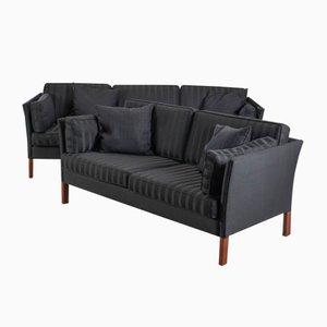Vintage Danish Black Sofas by Erik Jørgensen, Set of 2