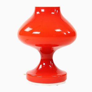 Lampada da tavolo Mid-Century in vetro opalino rosso di Stefan Tabery per OPP Jihlava, anni '60