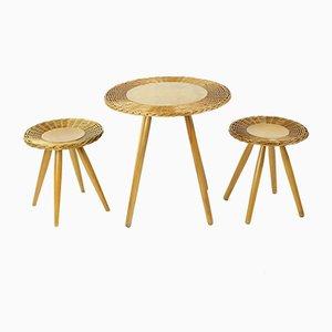 Table Basse en Osier avec 2 Tabourets de ÚĽUV, 1960s