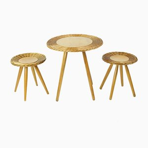 Wicker Coffee Table with Two Stools from ÚĽUV, 1960s