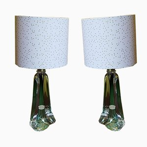 Mid-Century Crystal Glass Table Lamps from Cristallerie Val St. Lambert, Set of 2