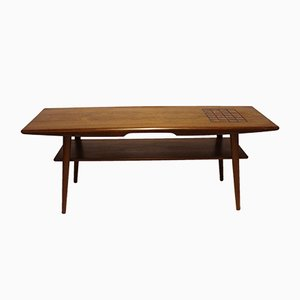 Danish Teak Coffee Table with Dark-Colored Tiles, 1960s