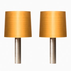 Lámparas de mesa escandinavas Mid-Century de acero, años 60. Juego de 2