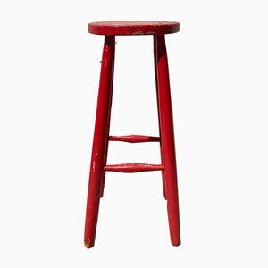 Vintage Red Painted Wood Bar Stool