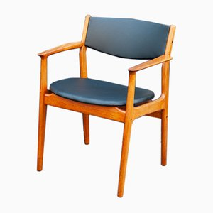 1960s Danish Teak Desk Armchair with Black Leatherette Upholstery by Svend Age Eriksen for Glostrup Møbelfabrik
