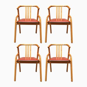 Beech & Leather Dining Chairs, 1980s, Set of 4