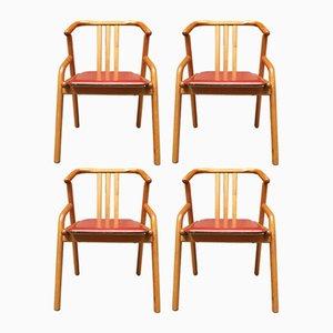 Chaises de Salle à Manger en Bouleau & Cuir, 1980s, Set de 4
