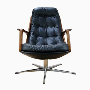 Leather and Teak Swivel Chair, 1960s
