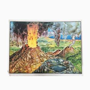 Poster double face raggigurante un vulcano e un torrente, anni '60