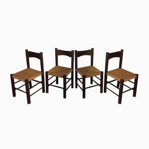 Sedie da pranzo in legno e paglia, anni '60, set di 4