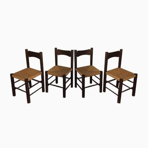Wood & Straw Dining Chairs, 1960s, Set of 4