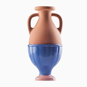 #04 Mini HYBRID Vase in Navy Blue-Light Pink by Tal Batit