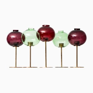 Brass & Glass Candleholders by Hans-Agne Jakobsson, 1959, Set of 5