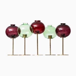 Messing & Glas Kerzenhalter von Hans-Agne Jakobsson, 1959, 5er Set